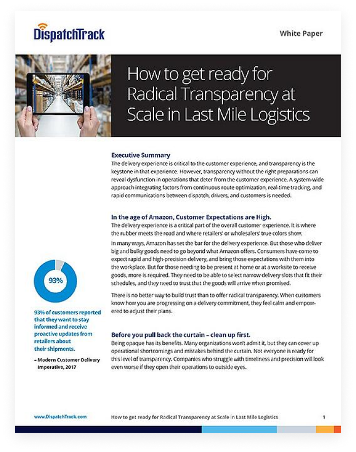 Transparency in Last Mile Logistics